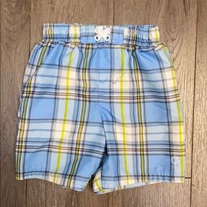 OP Toddler Blue/White/Lime Plaid Swim Trunks